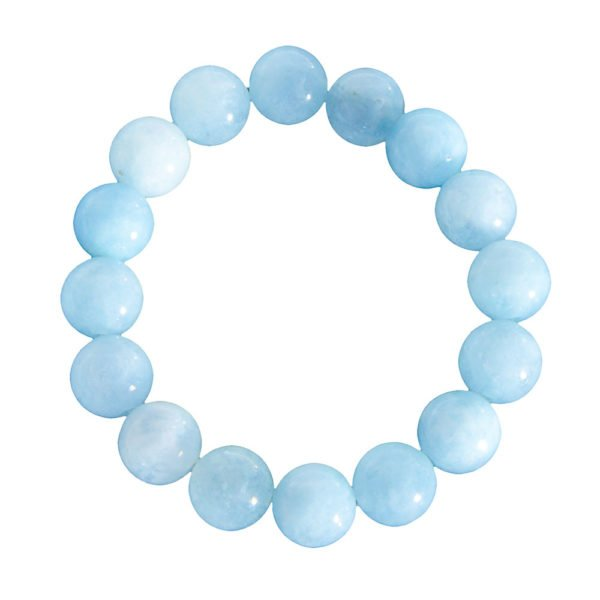 bracelet aigue marine pierres boules 12mm