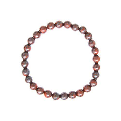 bracelet jaspe bréchique pierres boules 6mm