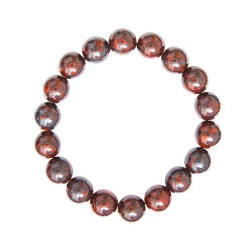 bracelet jaspe bréchique pierres boules 10mm