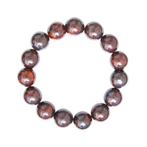 bracelet jaspe bréchique pierres boules 12mm