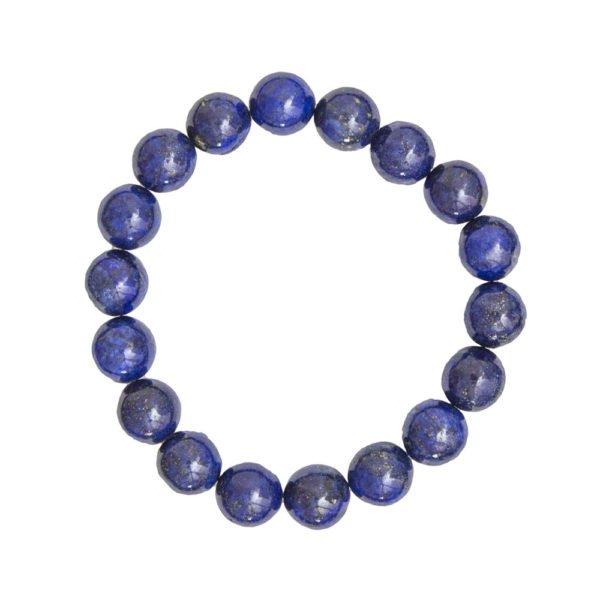 bracelet lapis lazuli pierres boules 10mm
