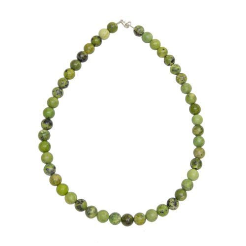 collier chrysoprase pierres boules 10mm