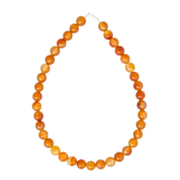 collier cornaline pierres boules 12mm