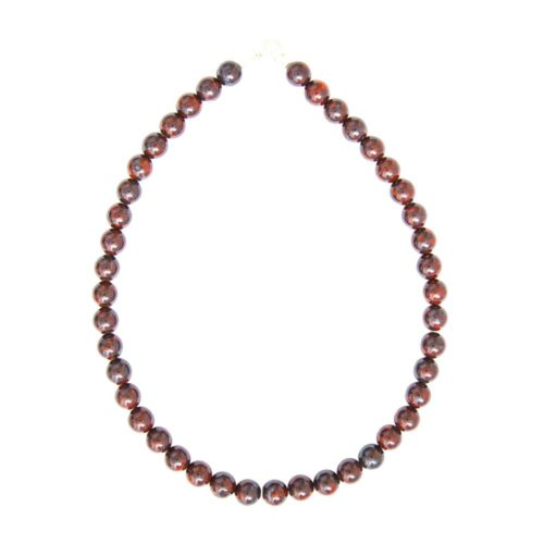collier jaspe bréchique pierres boules 10mm