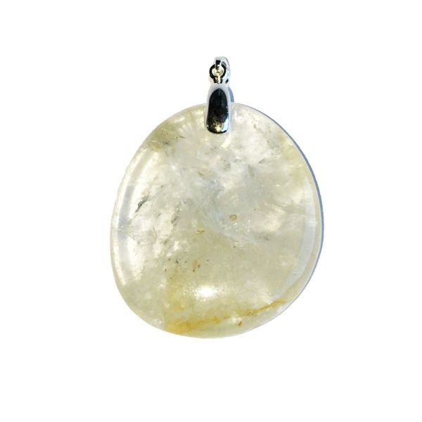 pendentif citrine pierre plate