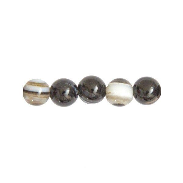 perles agate zonée noire