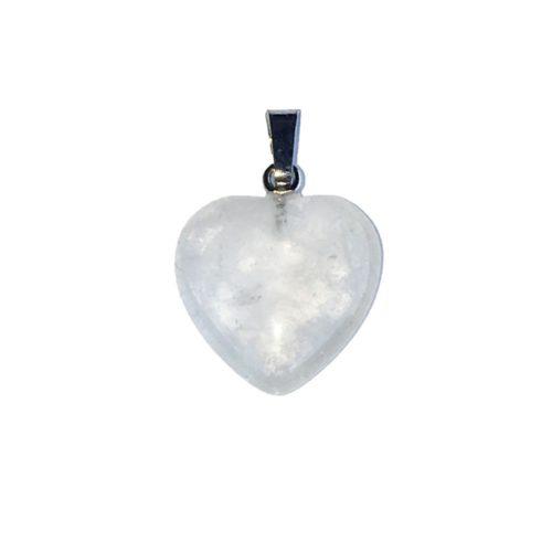 pendentif cristal de roche petite coeur