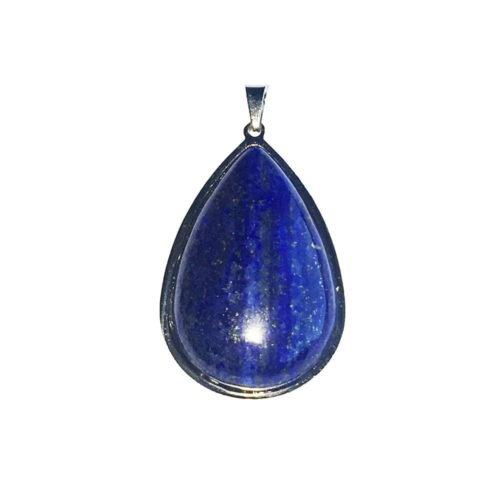 pendentif lapis lazuli goutte monté acier