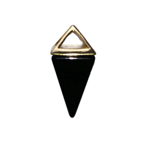 pendentif agate noire pyramide or