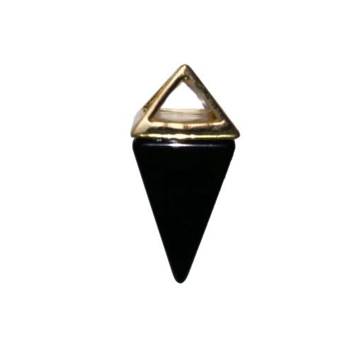 pendentif agate noire pyramide or