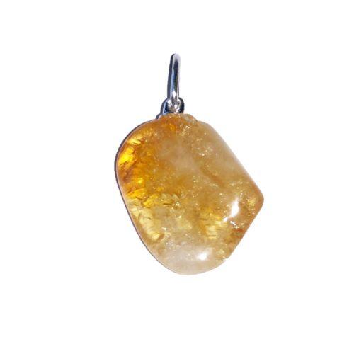 pendentif citrine pierre roulée