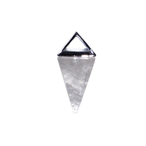 pendentif cristal de roche pyramide argent