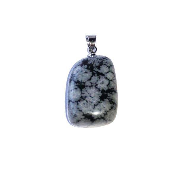 pendentif obsidienne flocon de neige pierre roulée