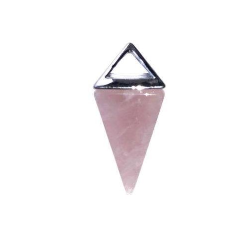 pendentif quartz rose pyramide argent