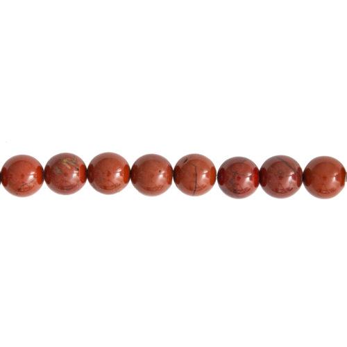 fil jaspe rouge pierres boules 12mm