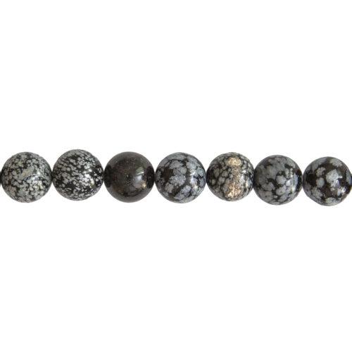 fil obsidienne neige pierres boules 14mm
