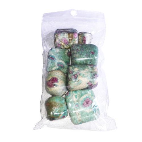 sachet pierres roulées rubis sur fuschite 250grs