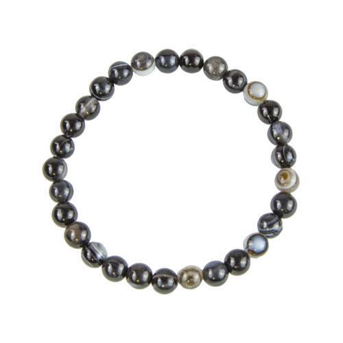 bracelet agate zonee noire pierres boules 6mm
