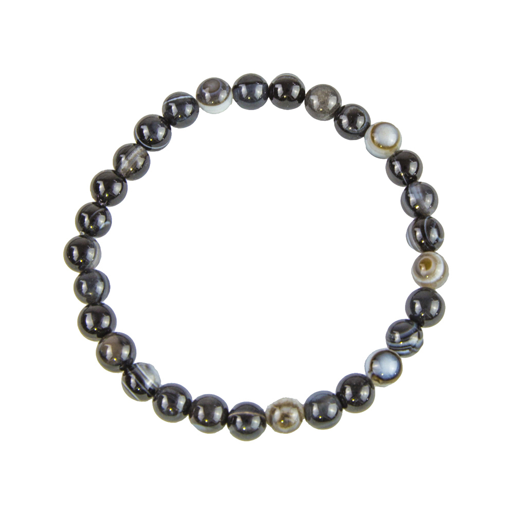 1 Bracelet agate zonée noire pierres naturelles perle 6mm différentes tailles