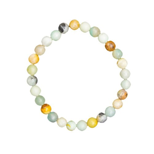 bracelet amazonite multicolore pierres boules 6mm