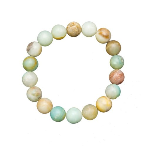 bracelet amazonite multicolore pierres boules 10mm