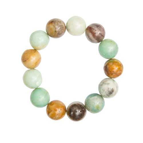 bracelet amazonite multicolore pierres boules 14mm