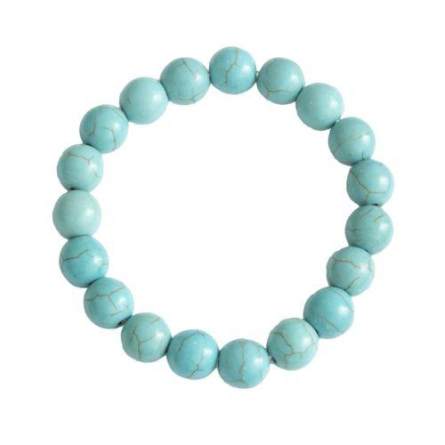 bracelet howlite bleue pierres boules 10mm