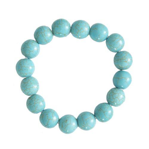 bracelet howlite bleue pierres boules 12mm