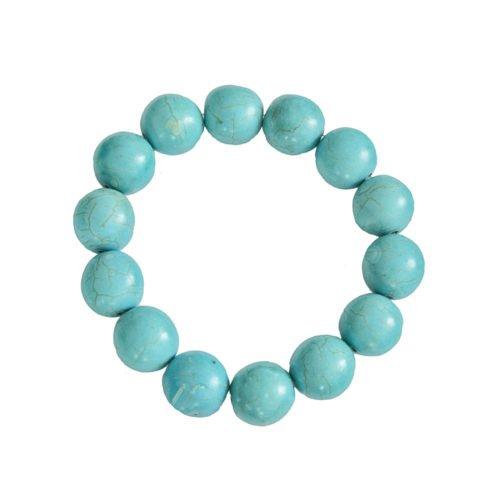 bracelet howlite bleue pierres boules 14mm