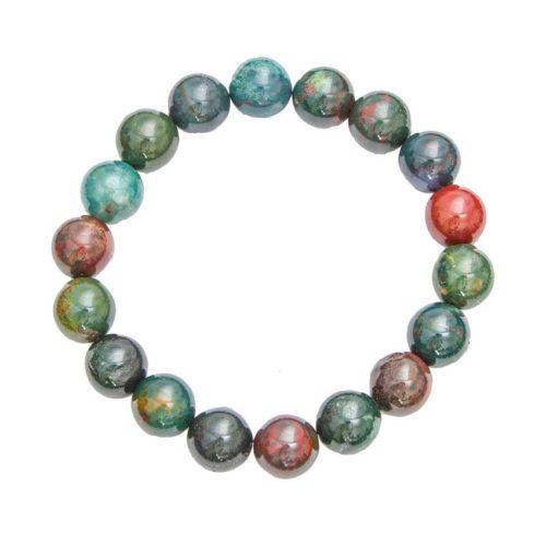 bracelet jaspe héliotrope pierres boules 10mm
