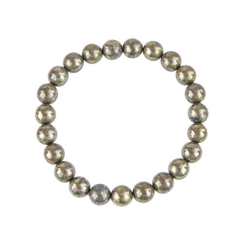 bracelet pyrite de fer pierres boules 8mm