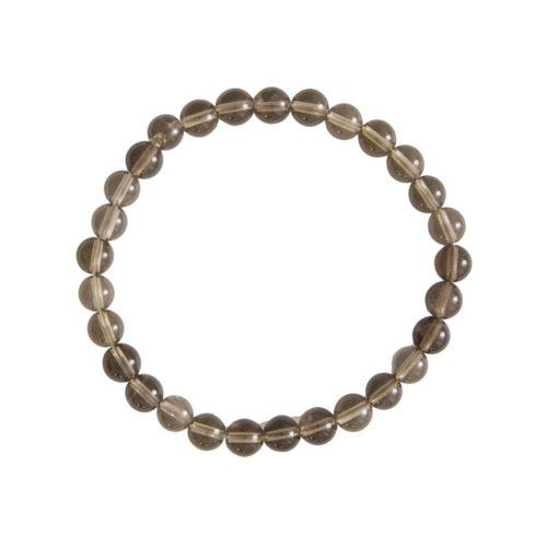 bracelet quartz fumé pierres boules 6mm
