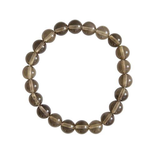 bracelet quartz fumé pierres boules 8mm