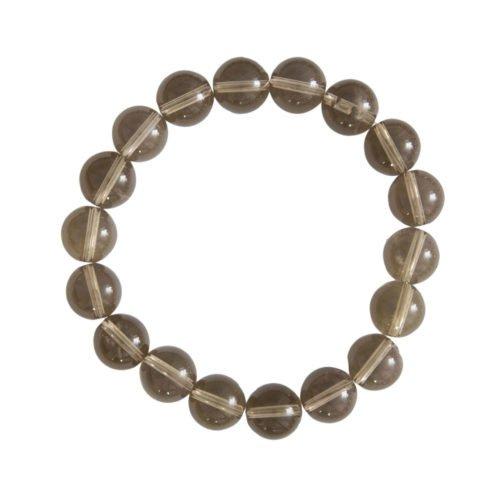 bracelet quartz fumé pierres boules 10mm