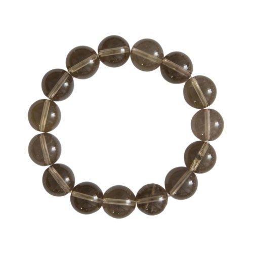 bracelet quartz fumé pierres boules 12mm