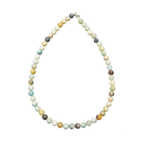 collier amazonite multicolore pierres boules 8mm