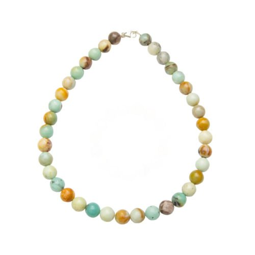 collier amazonite multicolore pierres boules 12mm