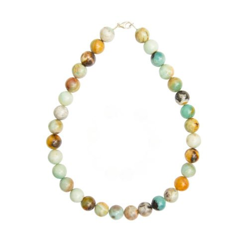 collier amazonite multicolore pierres boules 14mm
