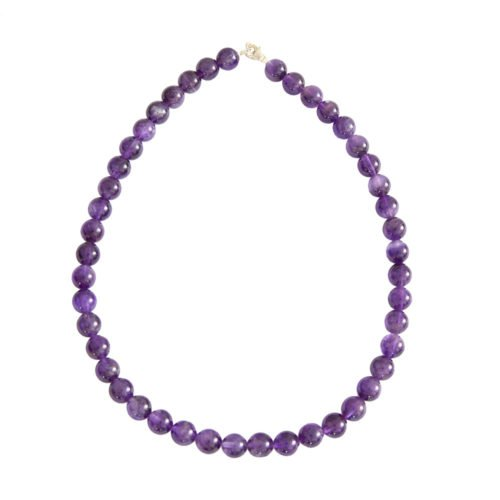 collier amethyste pierres boules 10mm