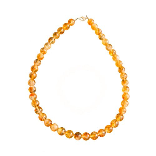 collier citrine pierres boules 10mm