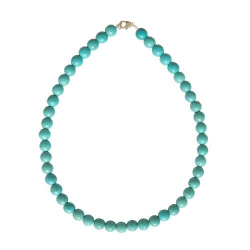 collier howlite bleue pierres boules 10mm