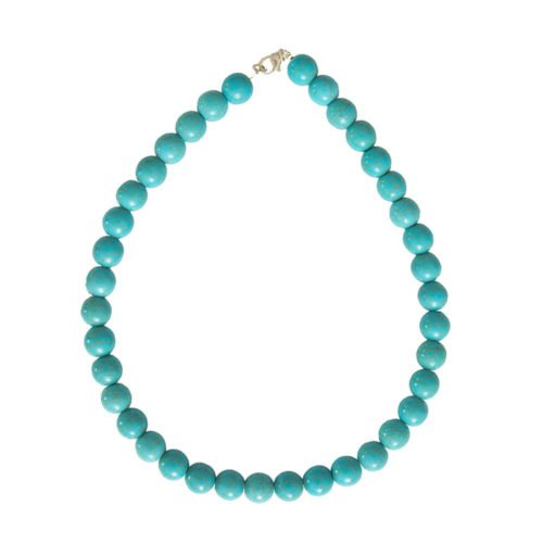 collier howlite bleue pierres boules 12mm