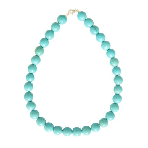 collier howlite bleue pierres boules 14mm