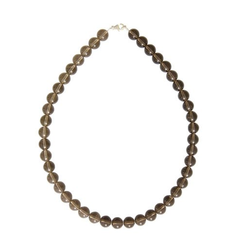 collier quartz fumé pierres boules 10mm