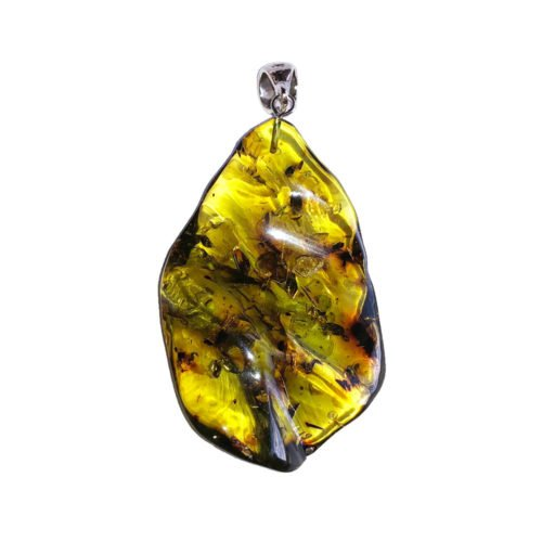 pendentif ambre verte pierre brute