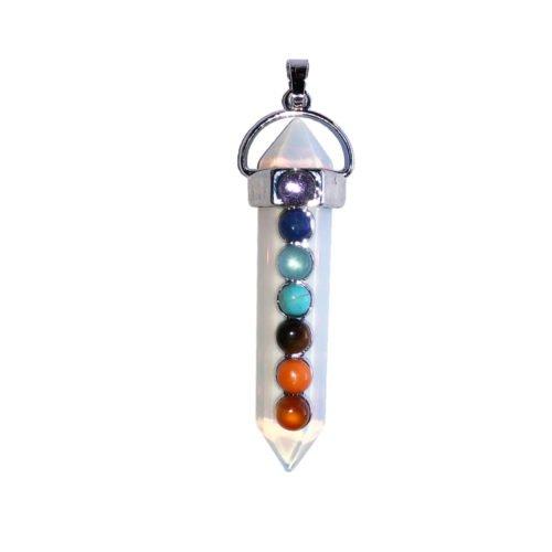 pendentif opale 7 chakras pointe longue