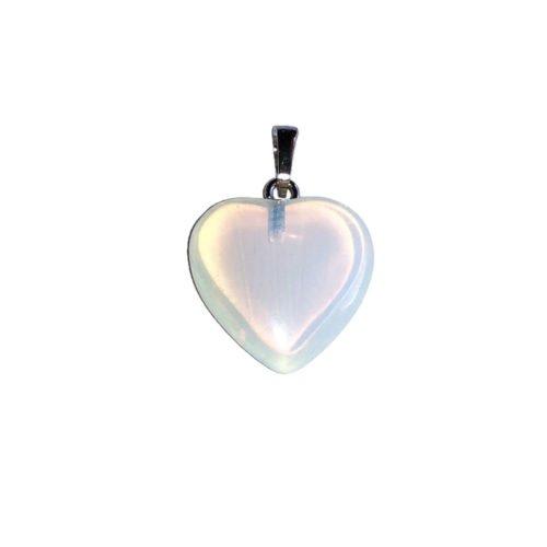 pendentif opale blanche petit coeur