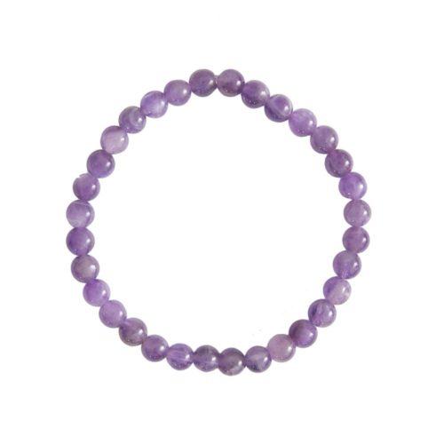 bracelet améthyste pierres boules 6mm