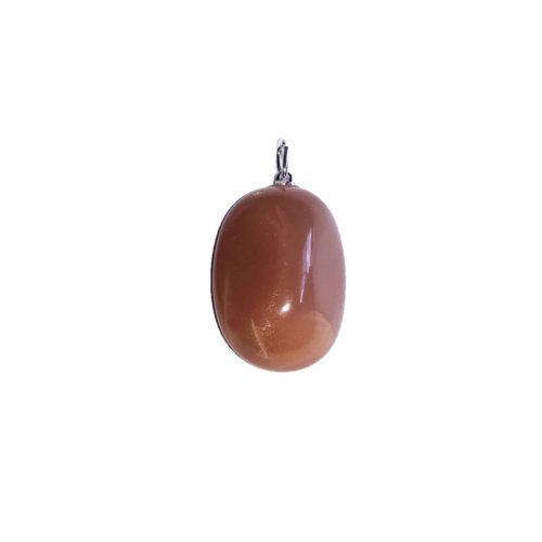 pendentif pierre de lune orangée