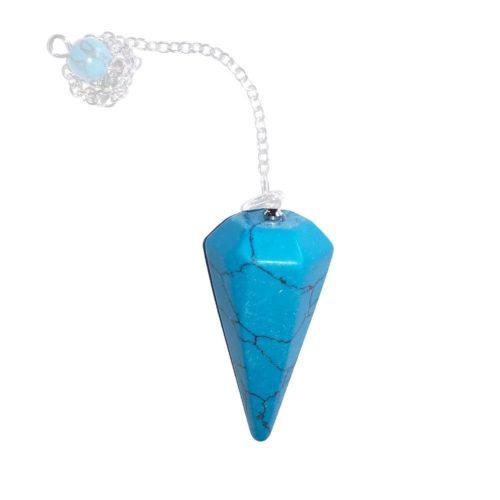 pendule howlite bleue hexagonal